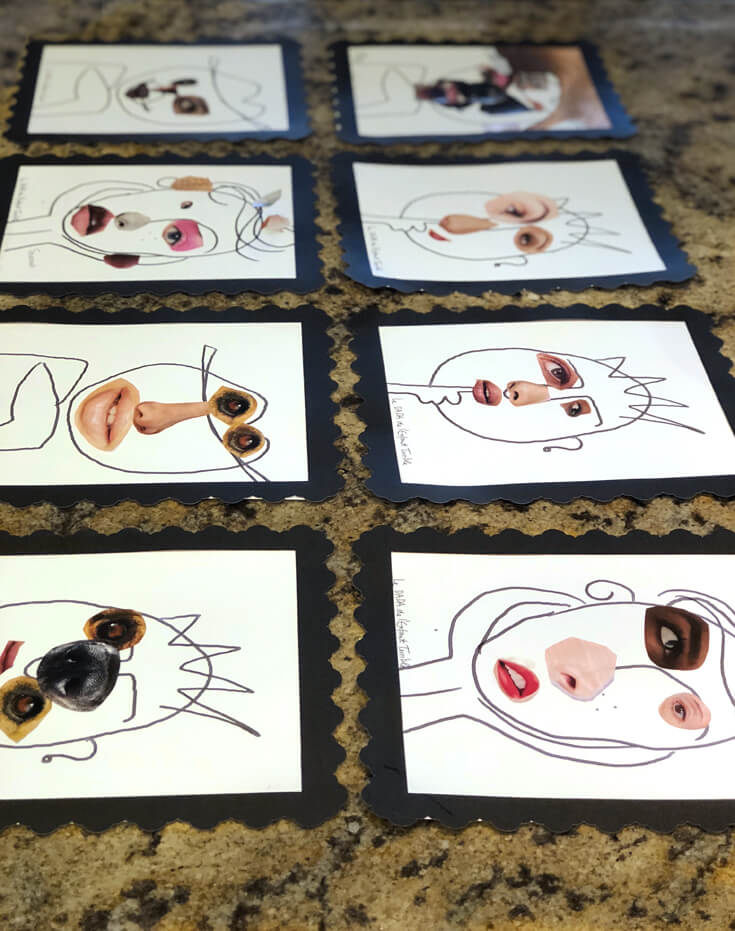 Keeping little artists busy making Picasso inspired faces with different features cut out of magazines
