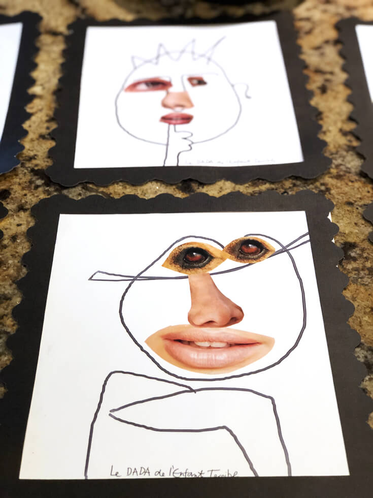 Keeping little artists busy making faces with different features cut out of magazines