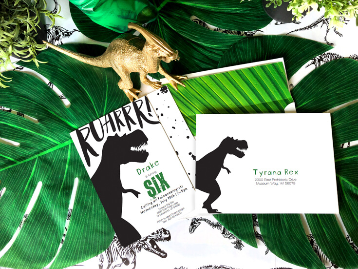 T Rex Inspired Invitations With Palm Leaf Background And Personalized Envelopes Are A Fun Dinosaur