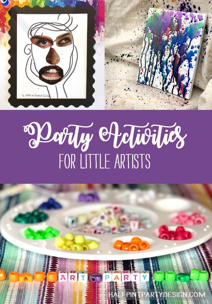 Party Activities for Little Artists like beading, collage, and painting