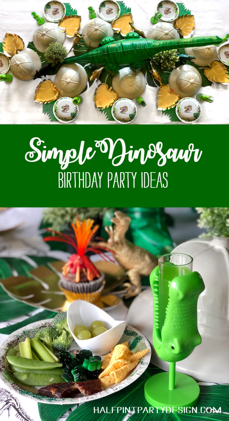Simple dinosaur birthday party ideas with fun food and place settings