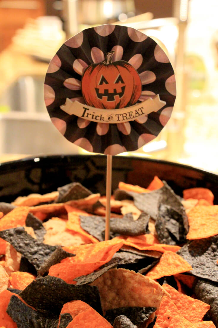 Orange and blue corn chips for easy halloween dinner ideas