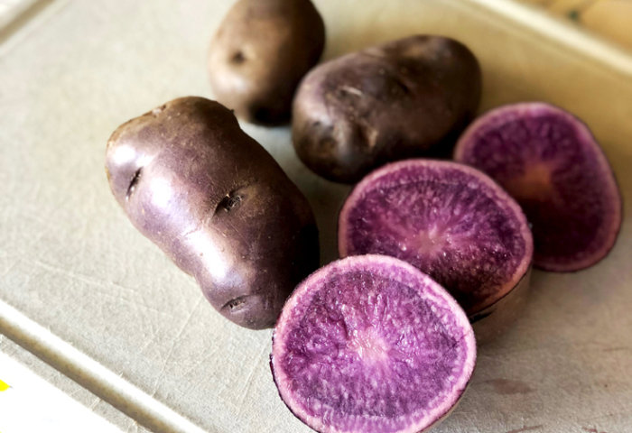 Sliced purple potatoes for easy halloween dinner ideas