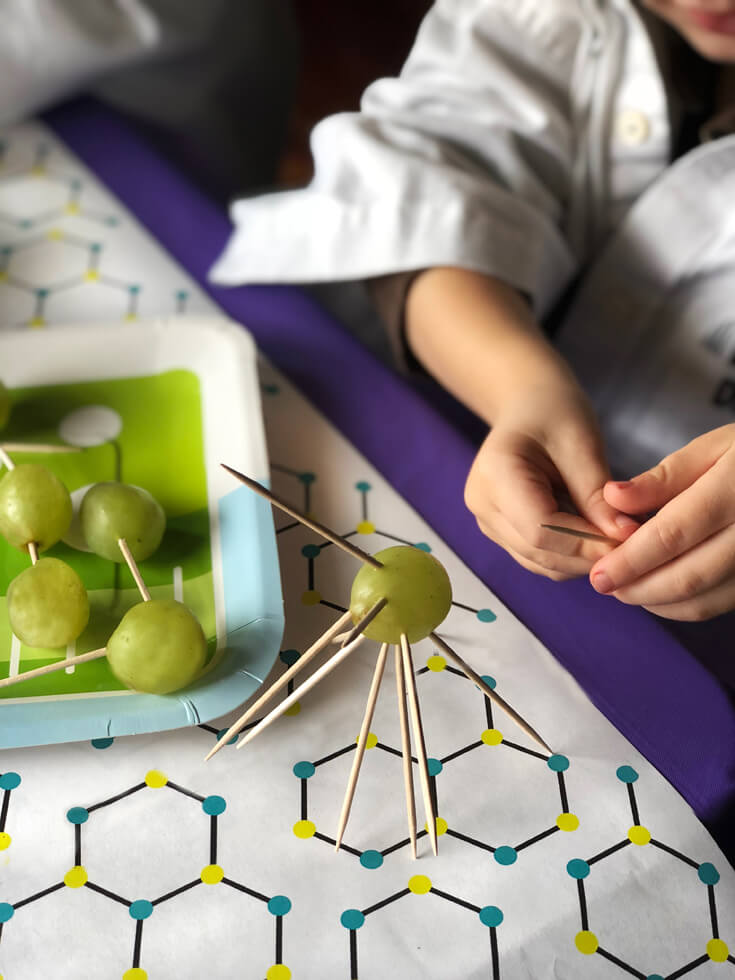 Toothpick creation standing on science themed table. Grape Molecule food science activity