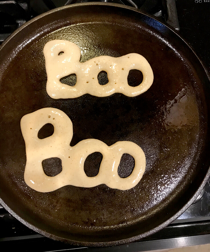 Boo pancakes for easy halloween dinner ideas