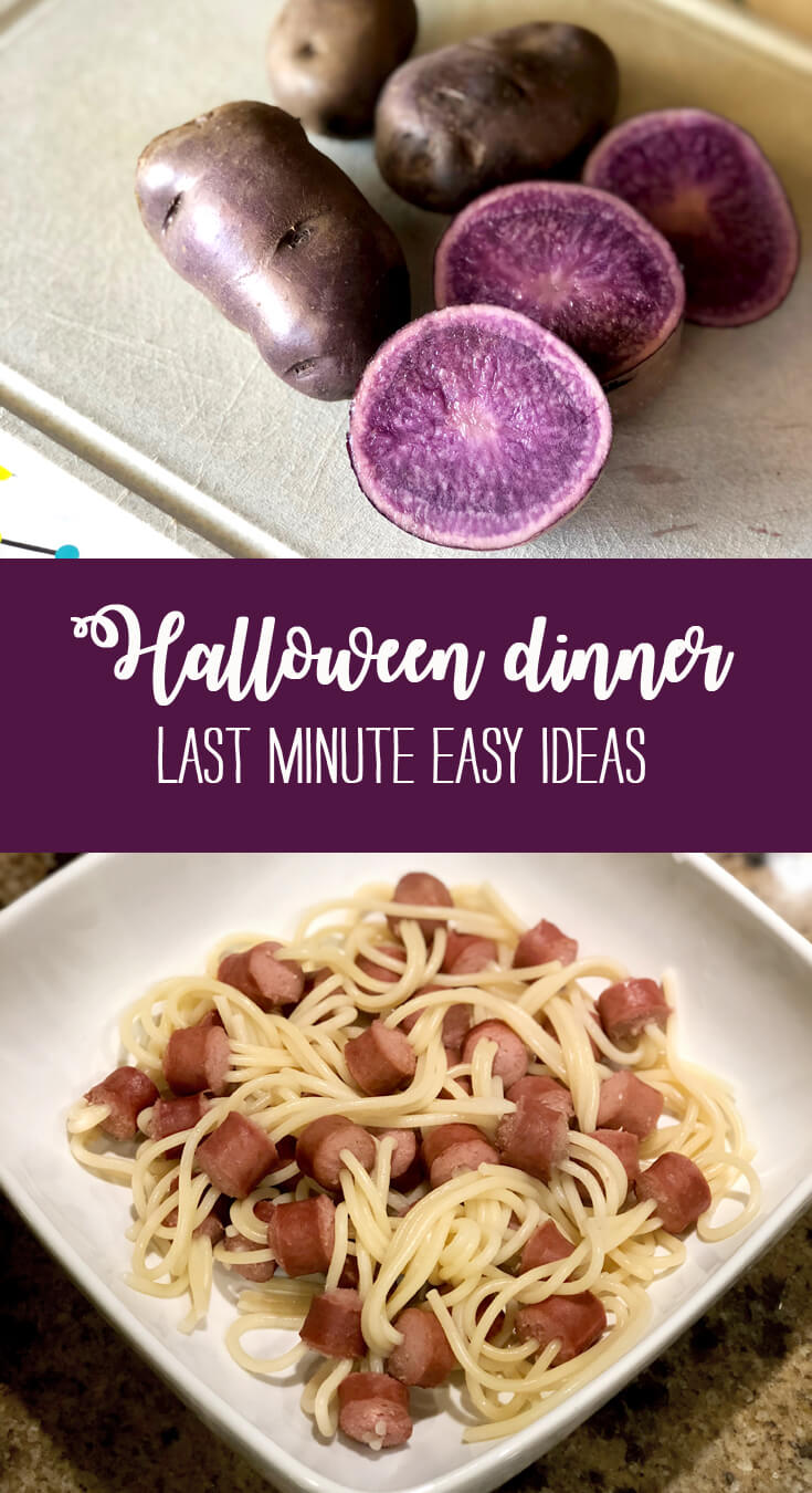 Halloween dinner - last minute easy ideas purple potatoes and hot dog spaghetti