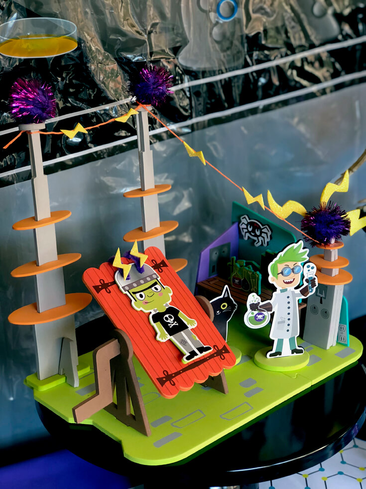 It's ALIVE with a monster lab decor kit for a simple Halloween centerpiece