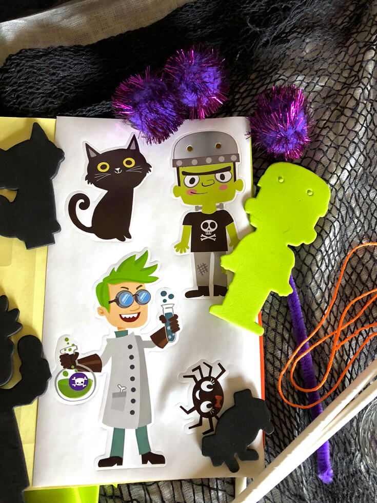Cute mad science characters in a simple Halloween centerpiece DIY kit