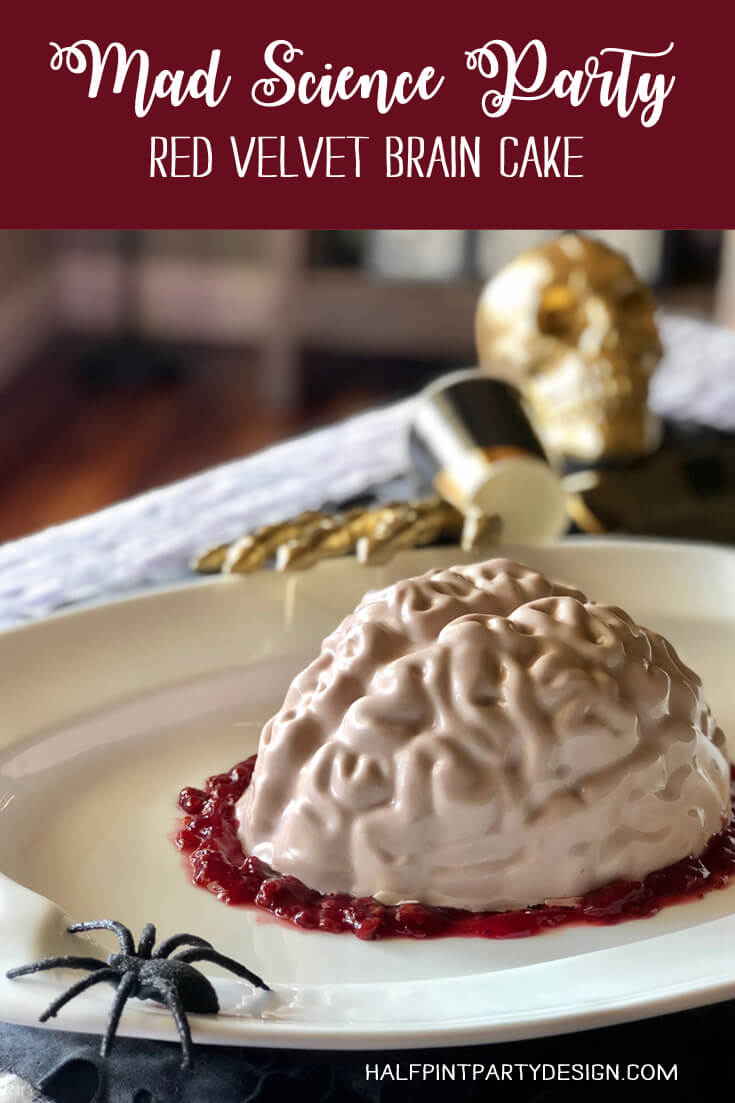 Mad science party red velvet brain cake tutorial