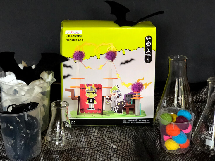 Monster lab decor kit is a simple Halloween centerpiece activity
