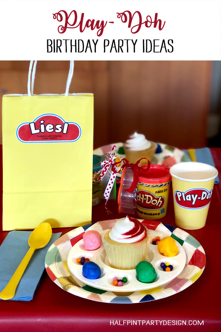 Play-Doh birthday party ideas with a cupcake on a colorful plate with sprinkles and favor bag