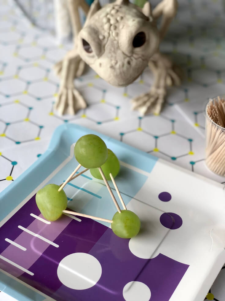 Simple grape and toothpick structure during a grape molecule food science activity