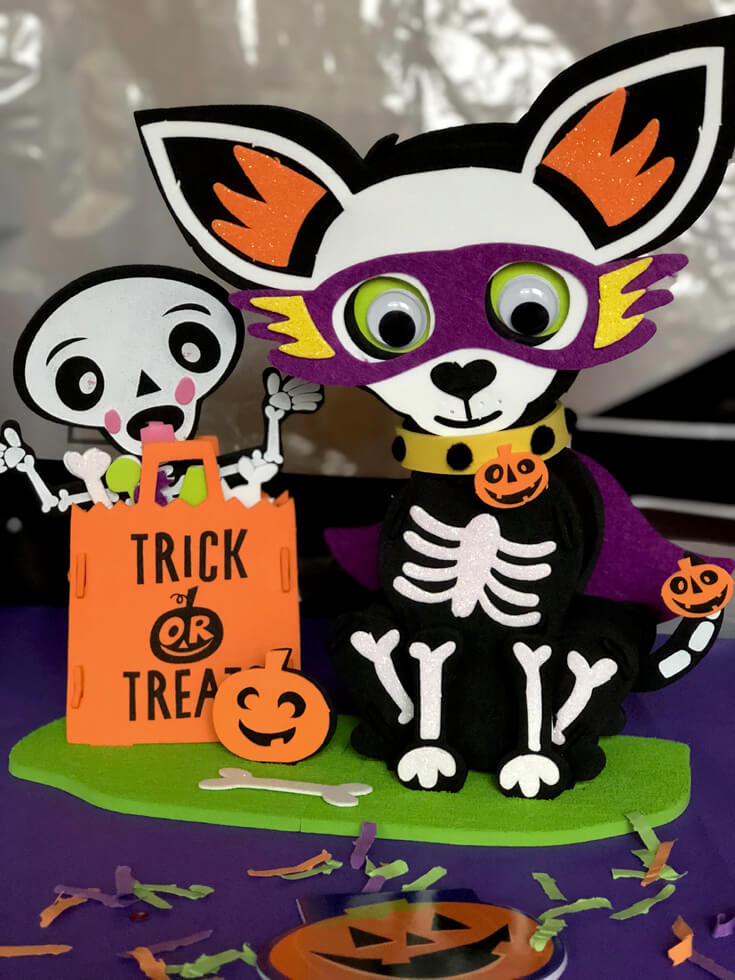 Chihuahua and skeleton simple Halloween centerpiece