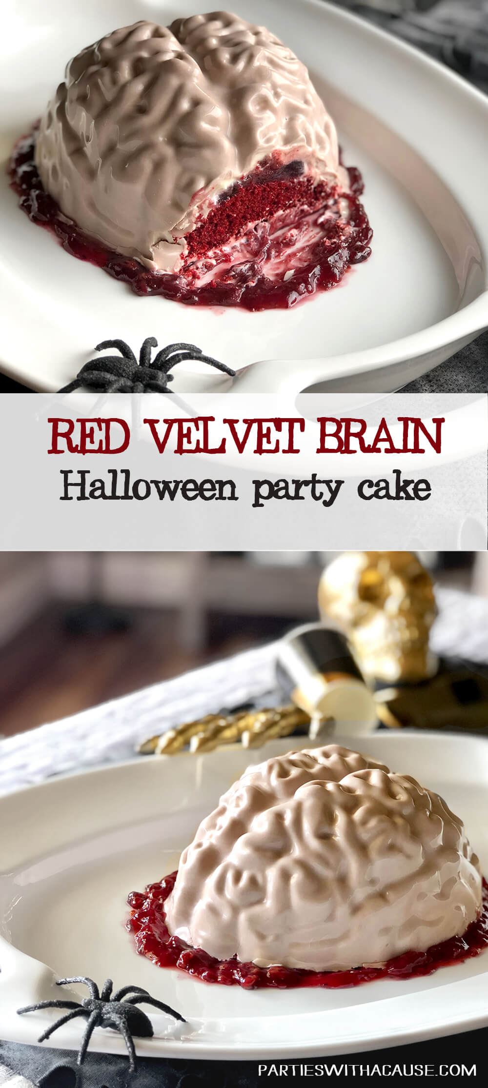 Red velvet brain cake for Halloween