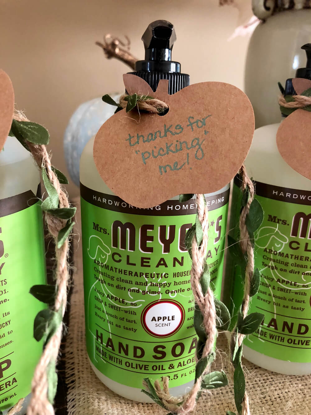 Meyer's Apple scented soap as girls night harvest party favor