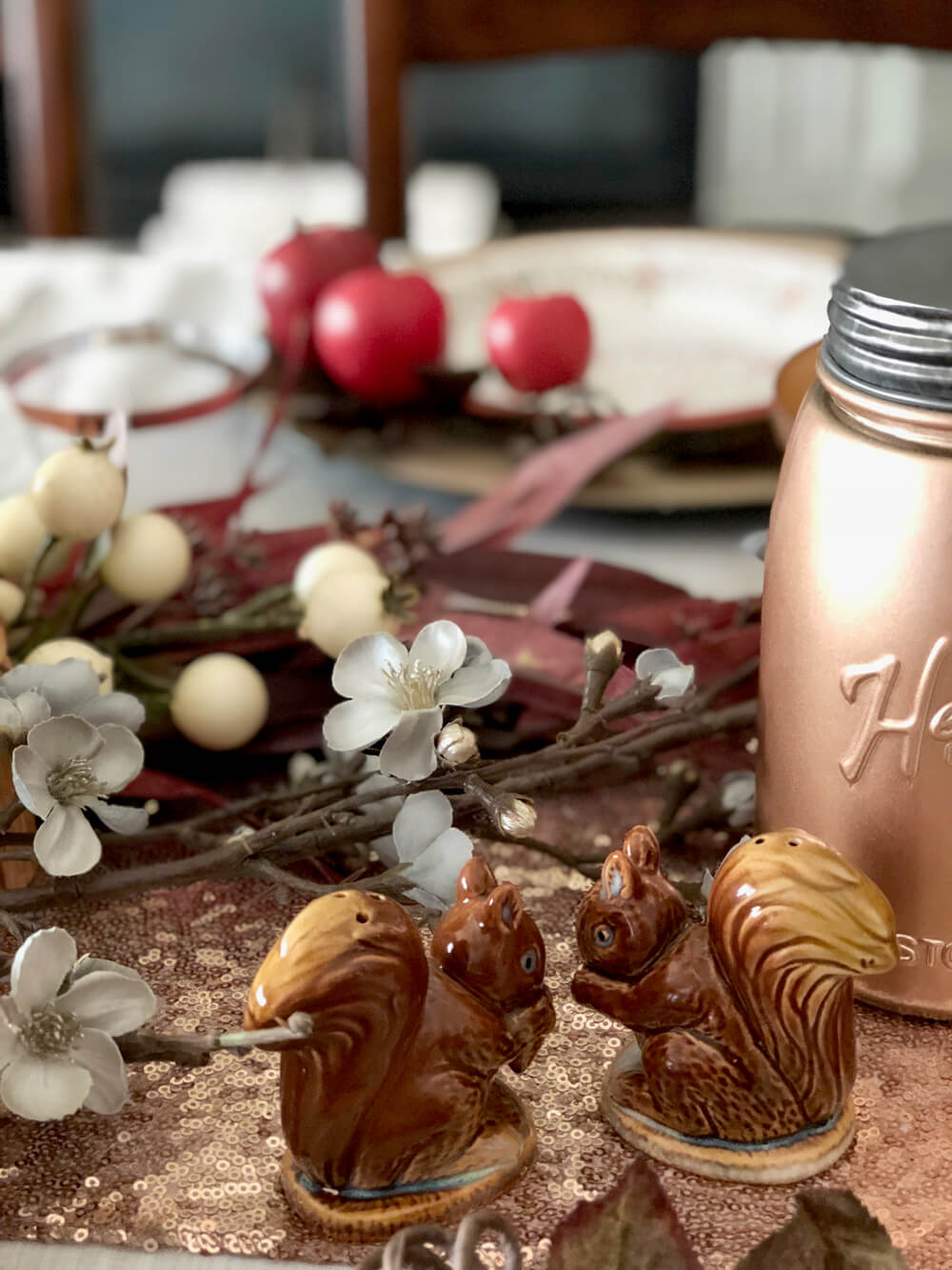 Squirrel salt and pepper shakers for girls night harvest party ideas