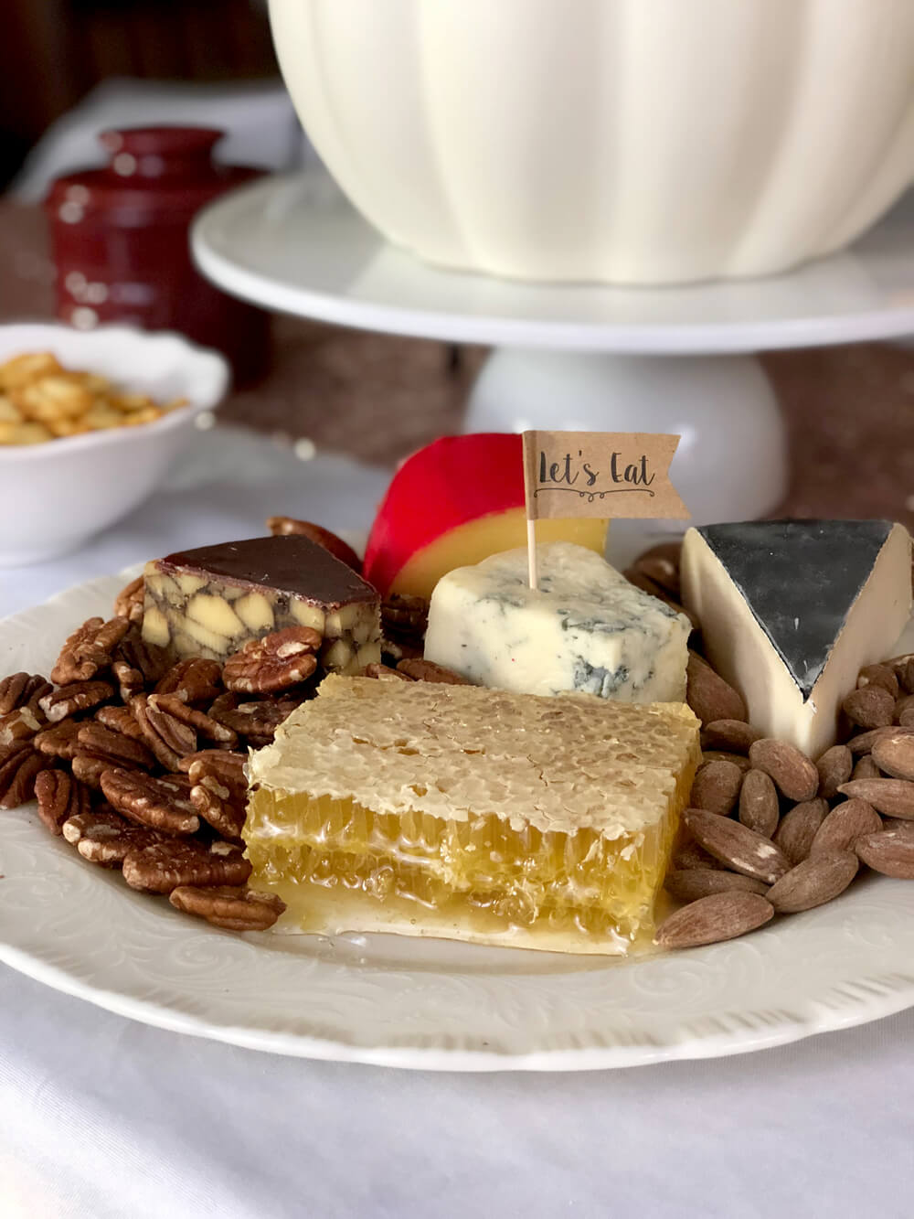 Cheese plate with honeycomb for girls night harvest party menu ideas