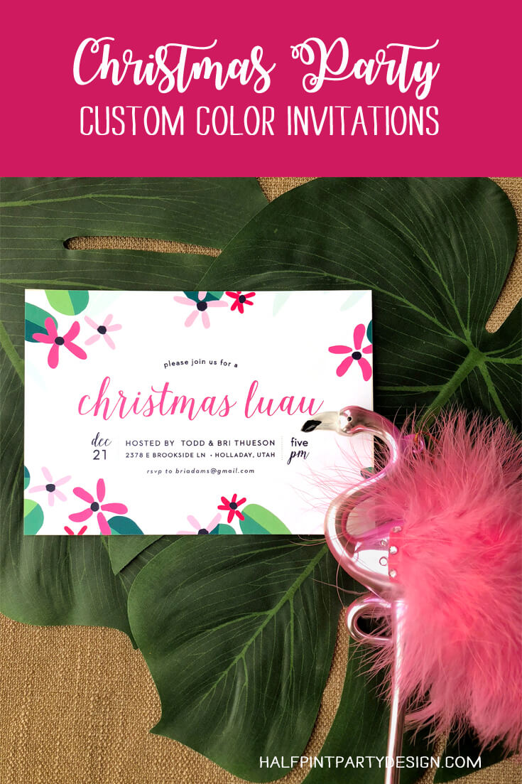 Customized Christmas Party invitation for Tropical Luau flamingle