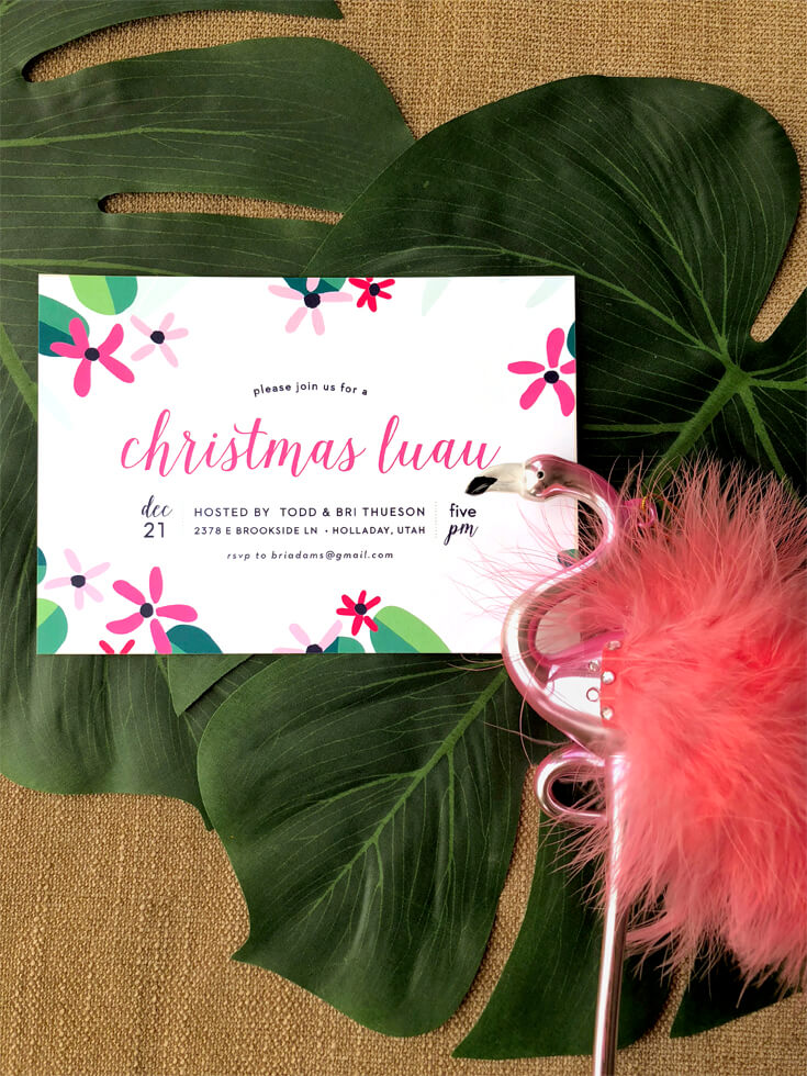 Tropical Christmas party invitation with flamingo
