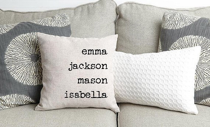 Pillow cover with printed names as handmade gift idea for her