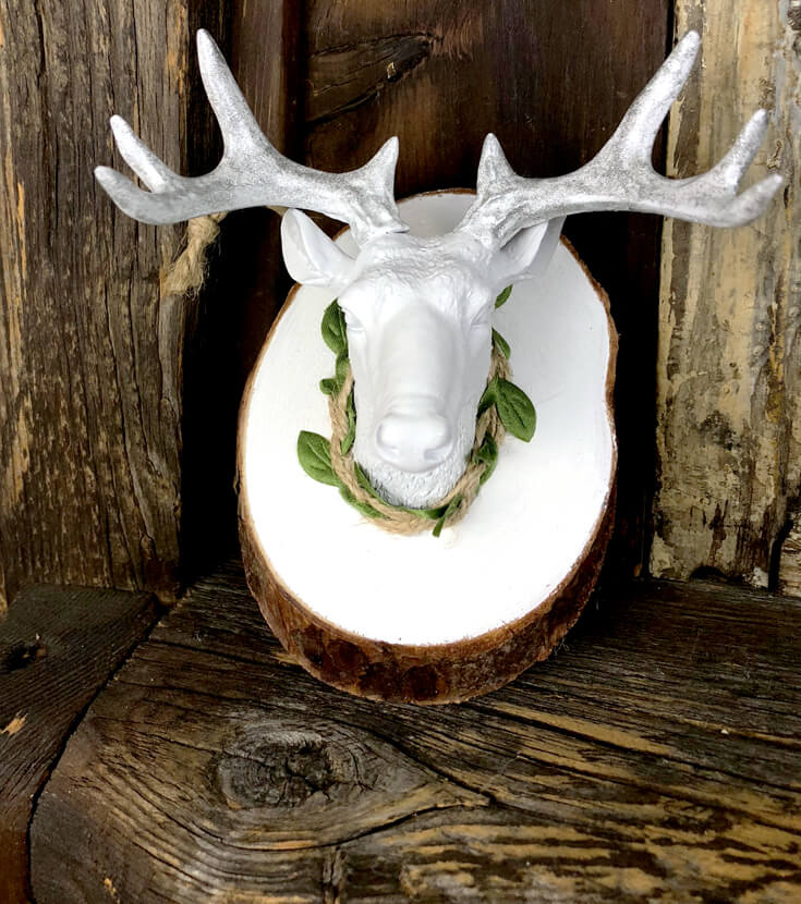 Finished DIY mounted deer head ornament