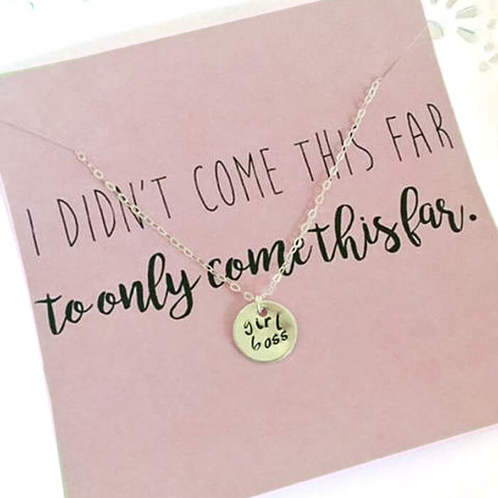 Girl boss necklace on card with quote as handmade gift idea for her