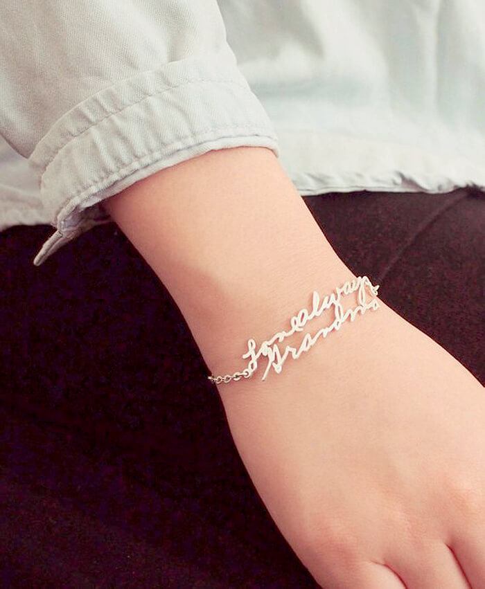 Handwriting bracelet on wrist as handmade gift idea for her