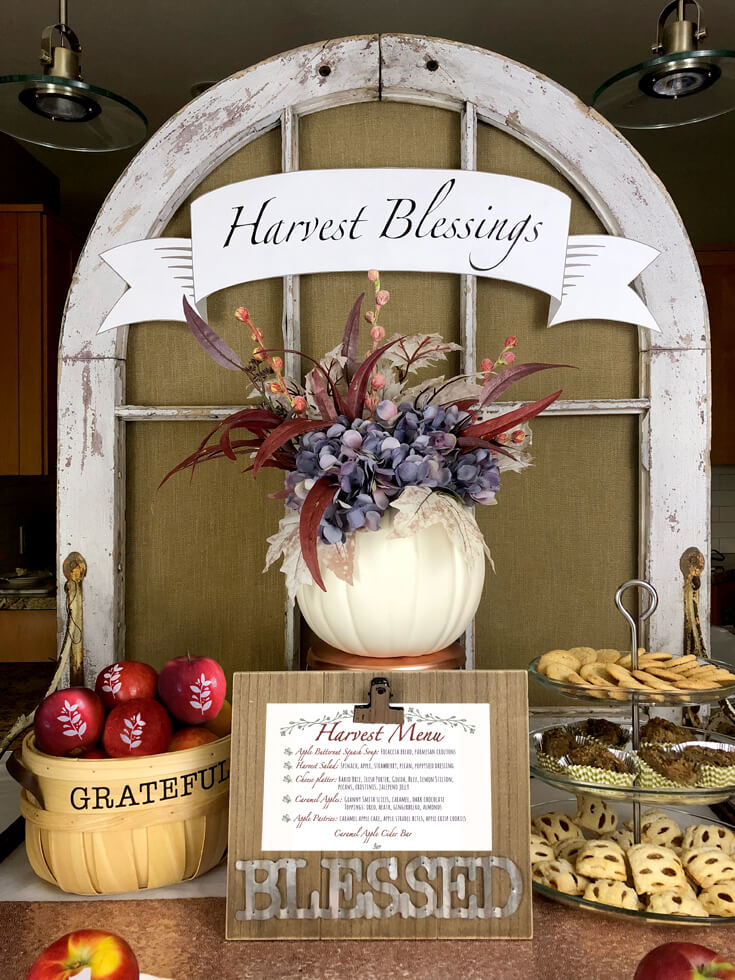 Harvest blessings food table for girls night harvest party ideas