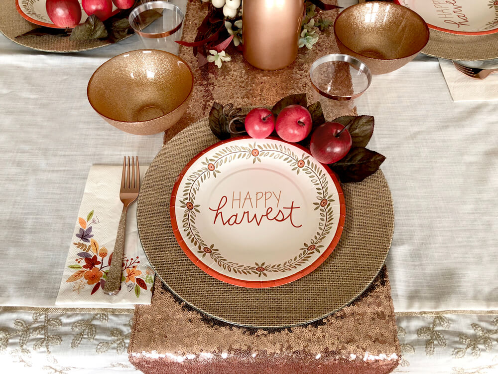 Happy harvest place setting for girls night harvest party ideas