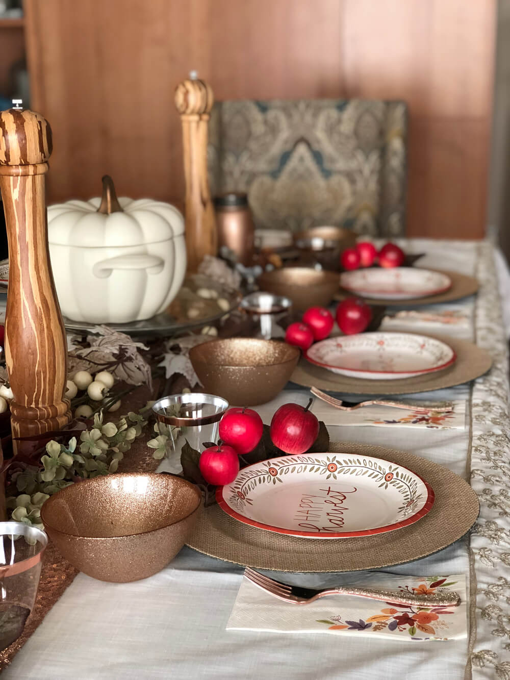 Fall themed tablescape for Girls night harvest party ideas