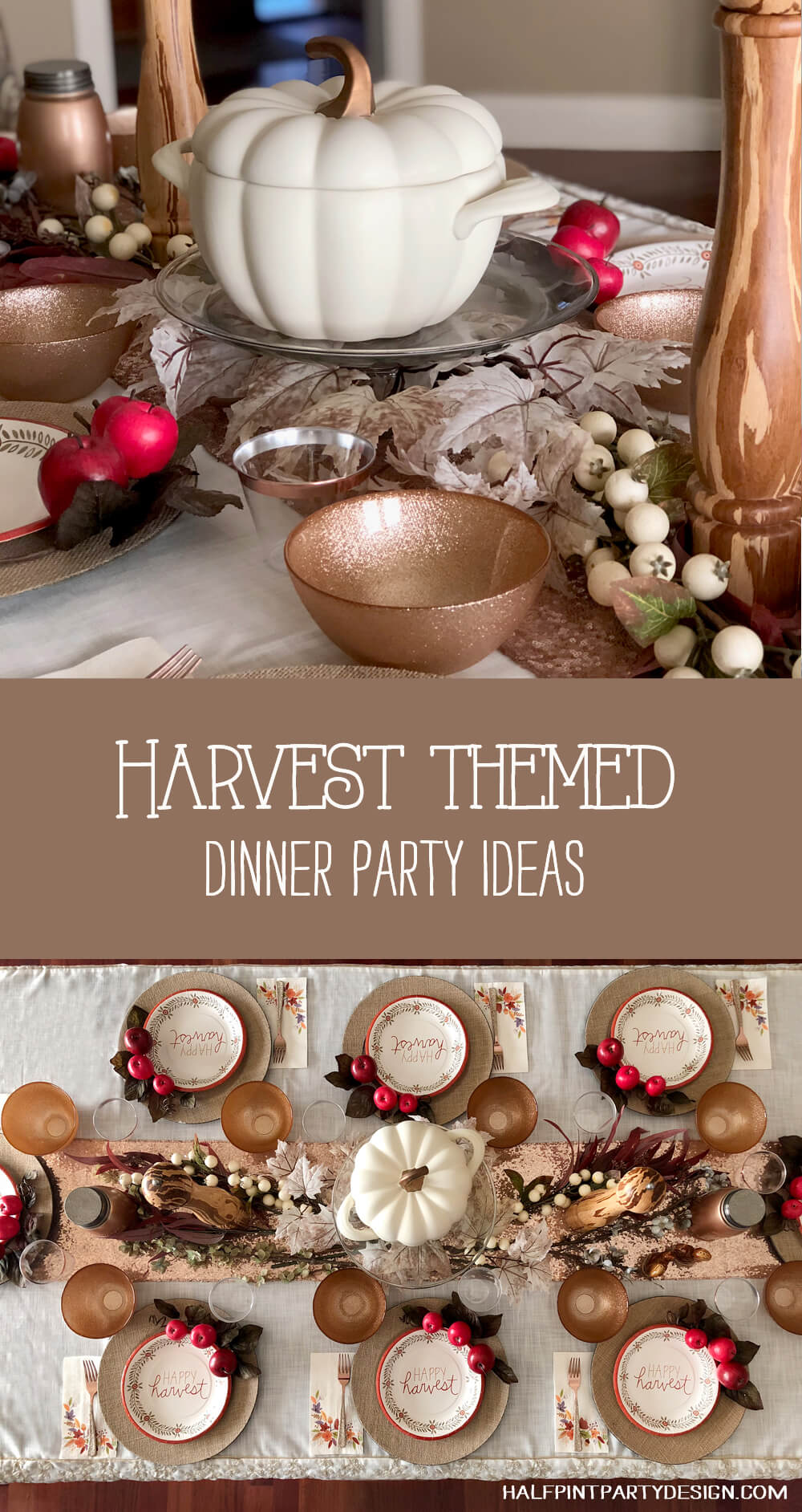Simple autumn themed girls night Harvest party tablescape