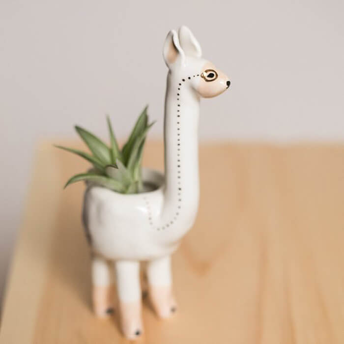 Painted llama planter as handmade gift idea for her