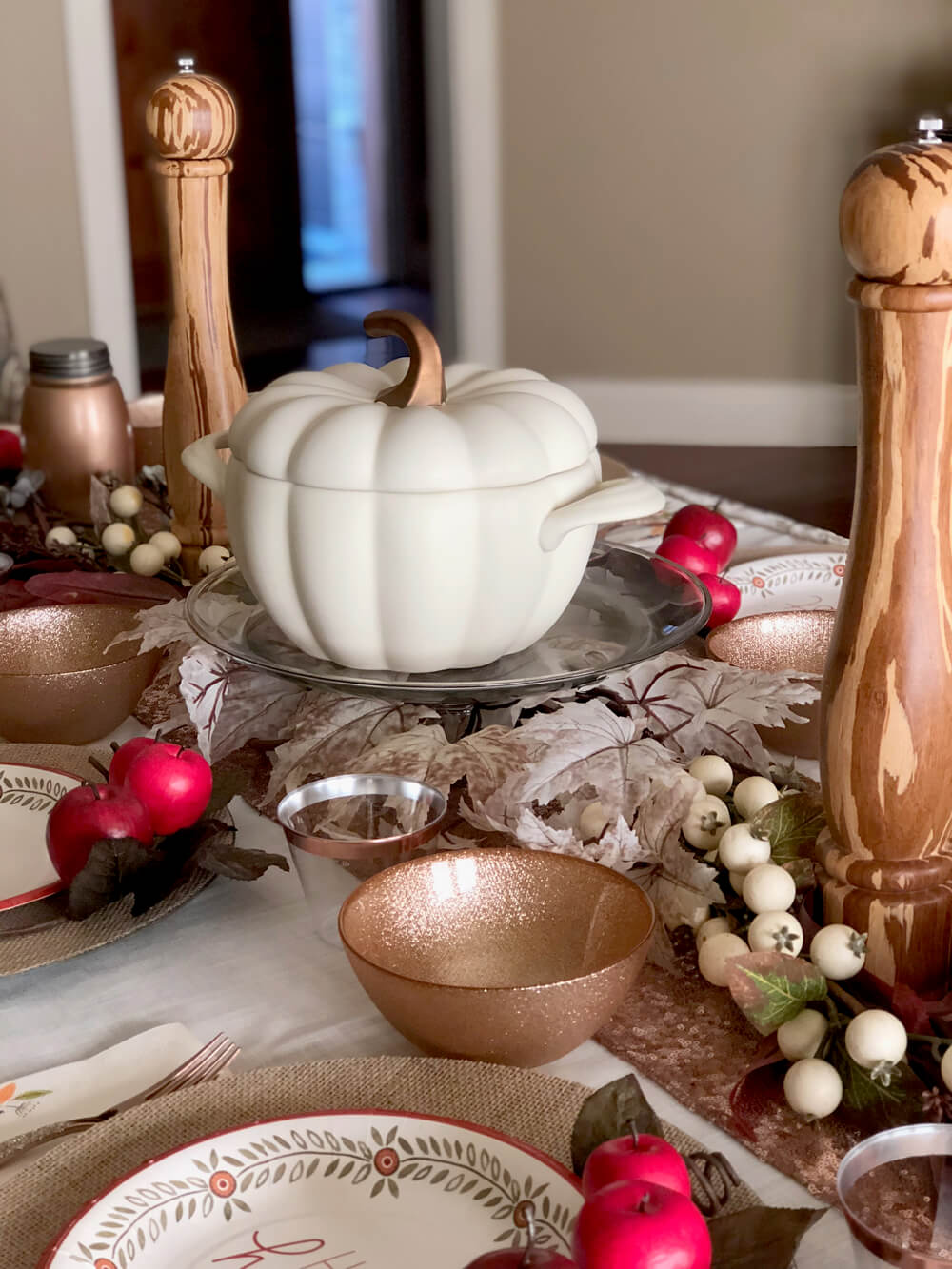 White pumpkin soup tureen as centerpiece for girls night harvest party ideas