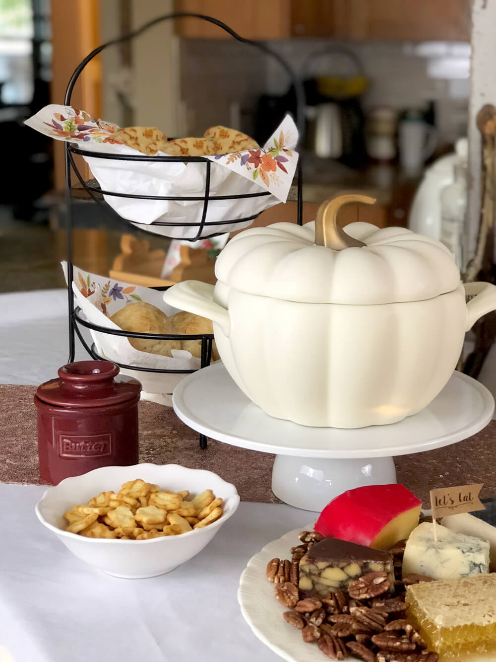 White pumpkin soup tureen for girls night harvest party ideas