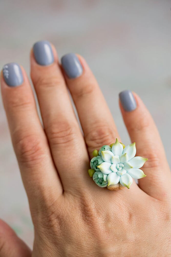 Succulent ring on hand as handmade gift idea for her
