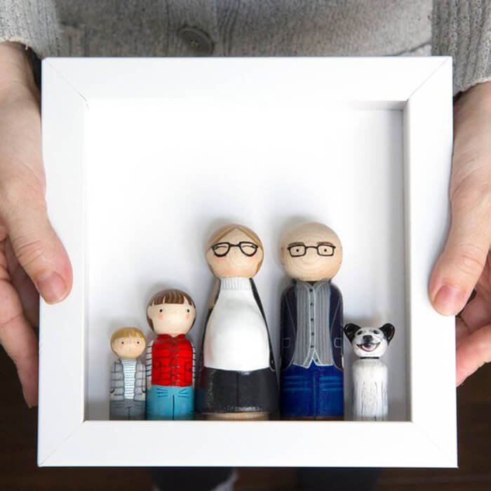 Wooden peg family portrait in frame as unique handmade gift ideas for her