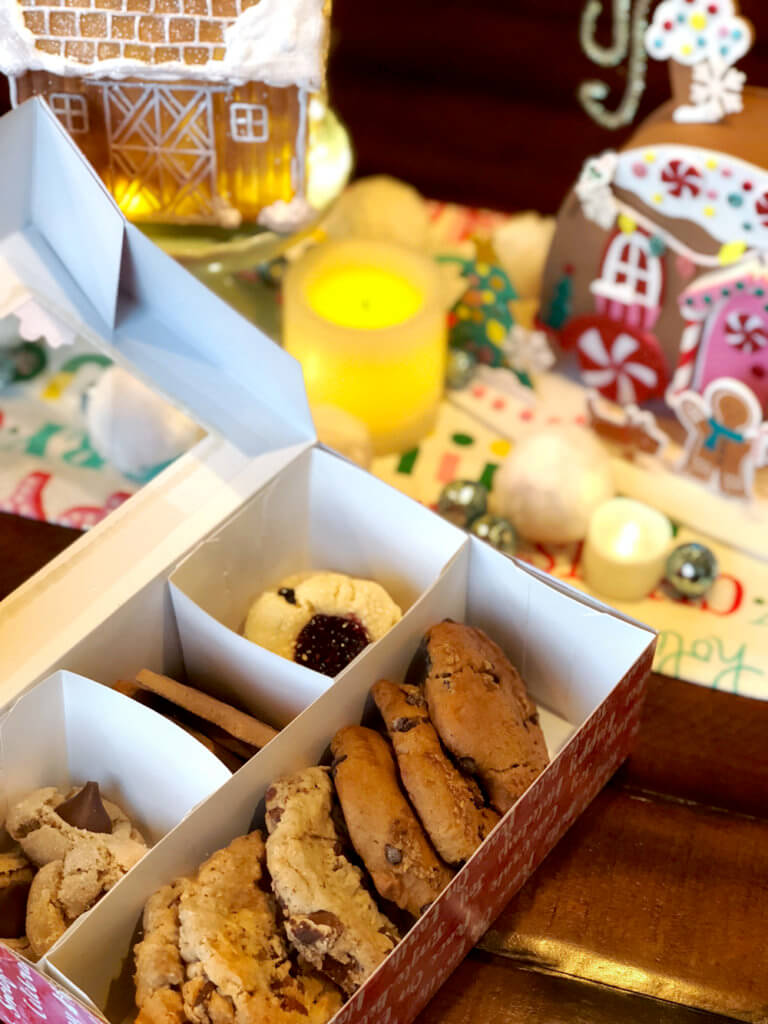 Cookies boxed up and ready to go from a Christmas Cookie Exchange Party