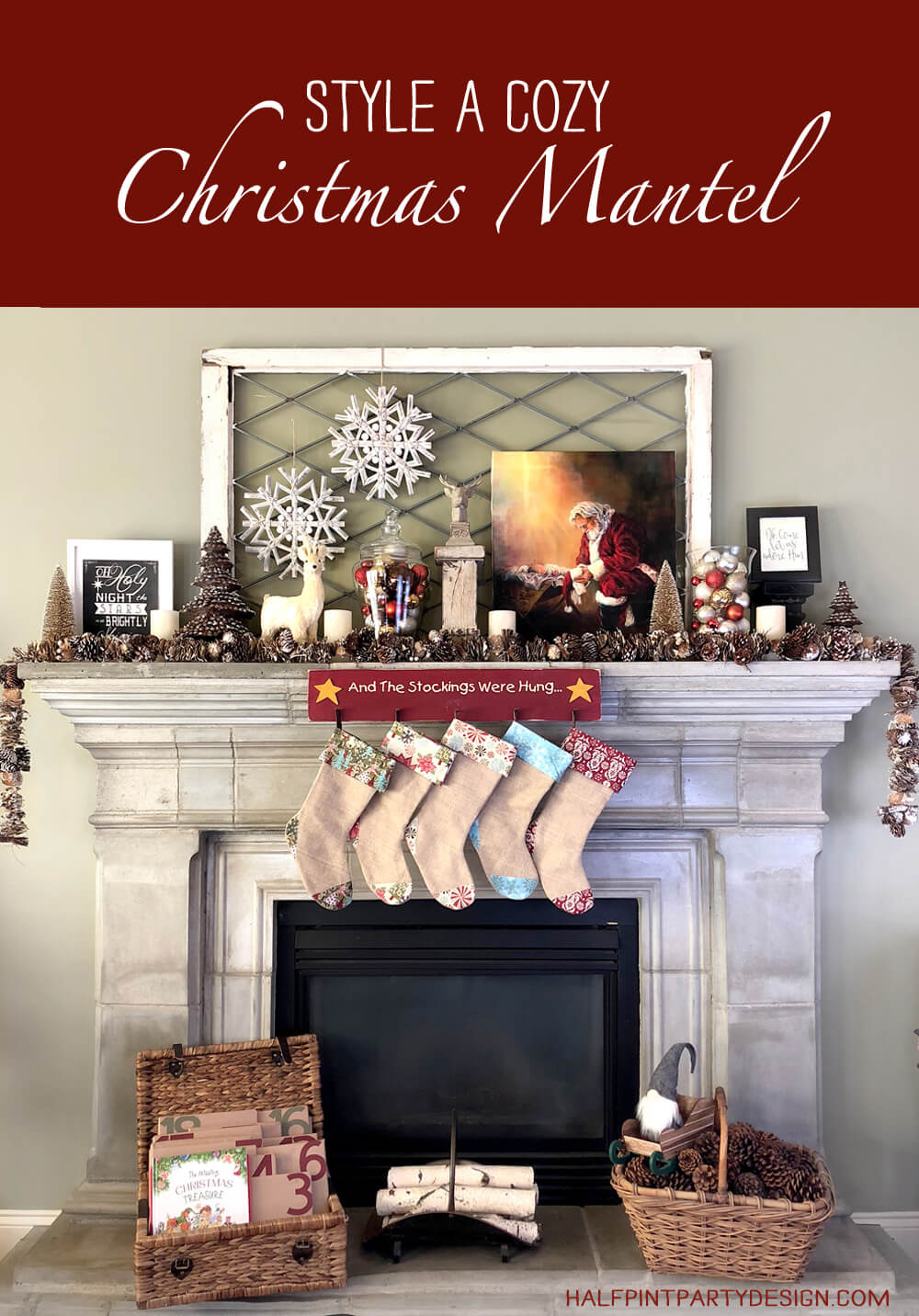 Style a cozy rustic woodland Christmas mantel