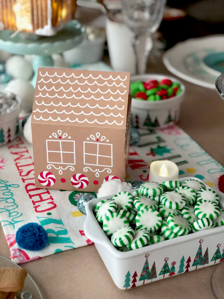 Gingerbread house and starlight mints for a Christmas Cookie Exchange Party
