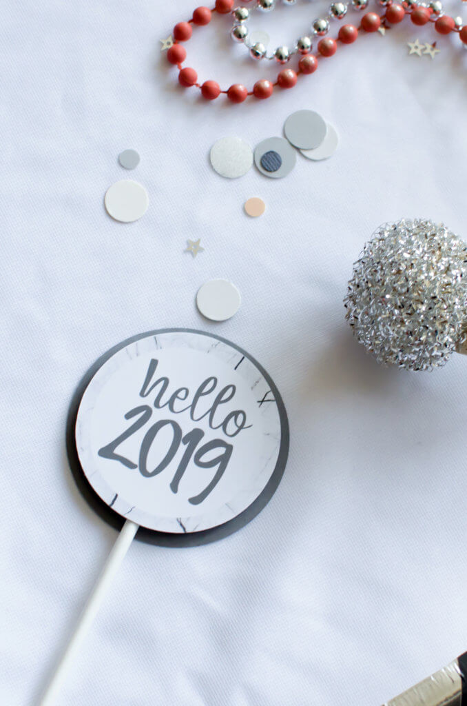 Hello 2019 cupcake topper for Pantone inspired New Years party