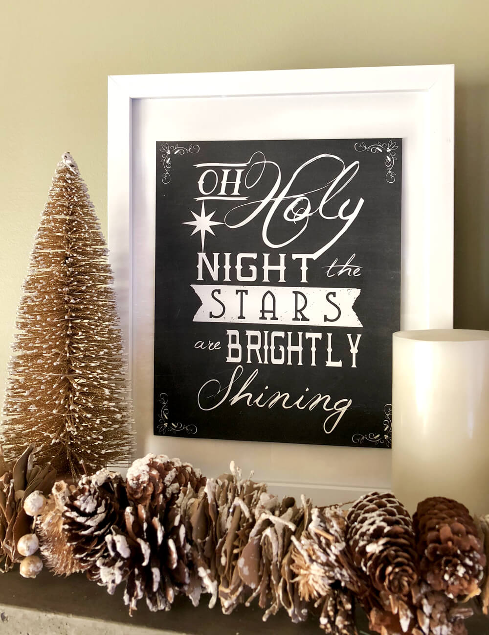 Framed Christmas lyrics for a rustic woodland Christmas mantel