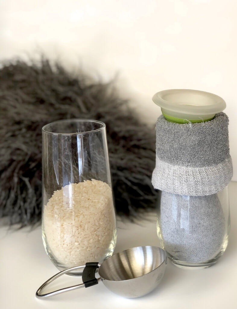 Rice filled sock body for a simple no sew gnome tutorial Scandinavian Christmas tomte
