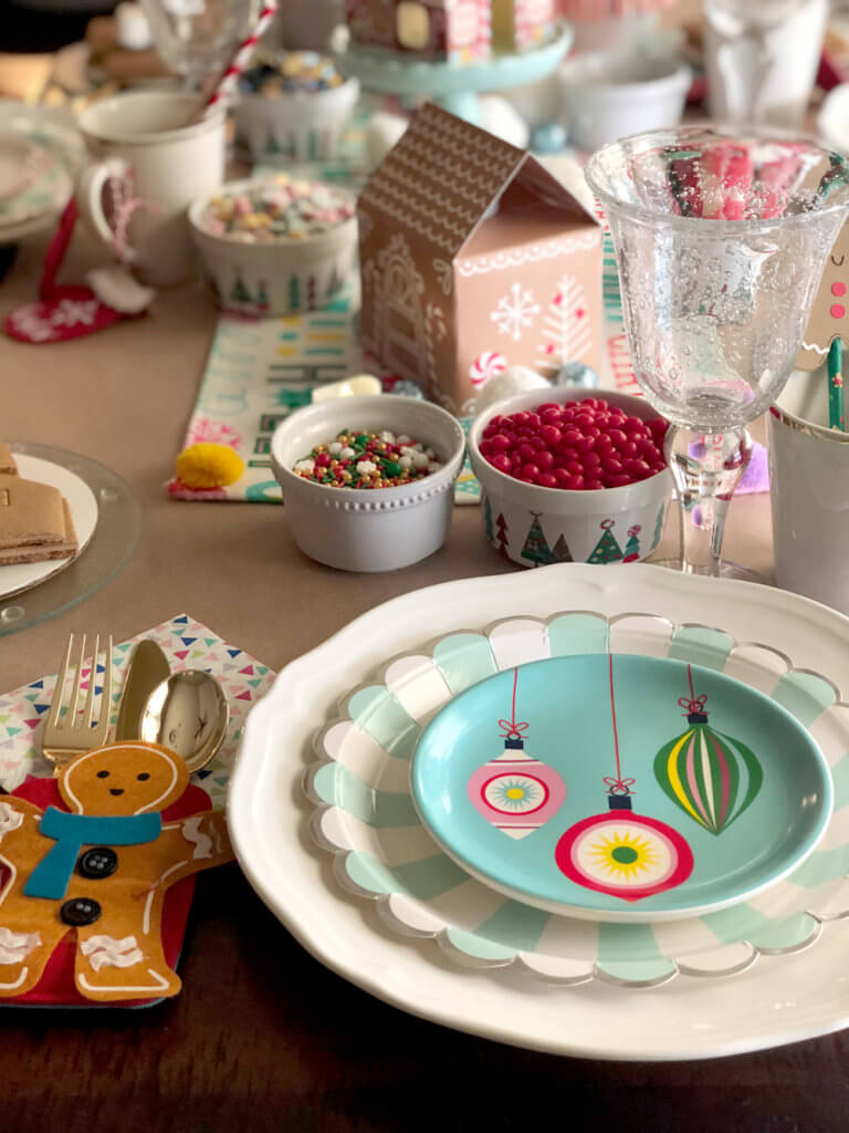 Decorated table for a Christmas Cookie Exchange Party