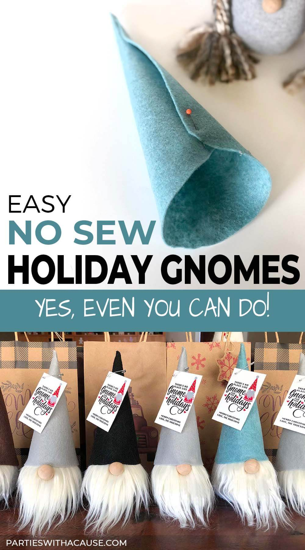 Easy No Sew Holiday Gnomes that, yes, even you can do