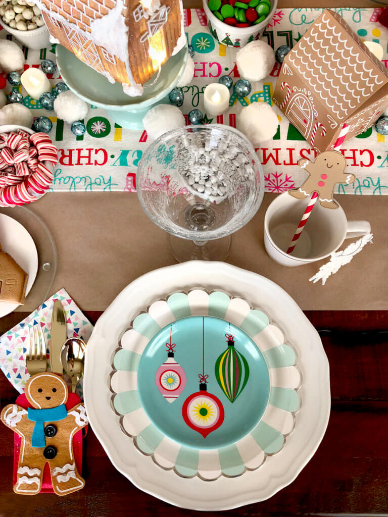Gingerbread Christmas place setting for a Christmas Cookie Exchange Party