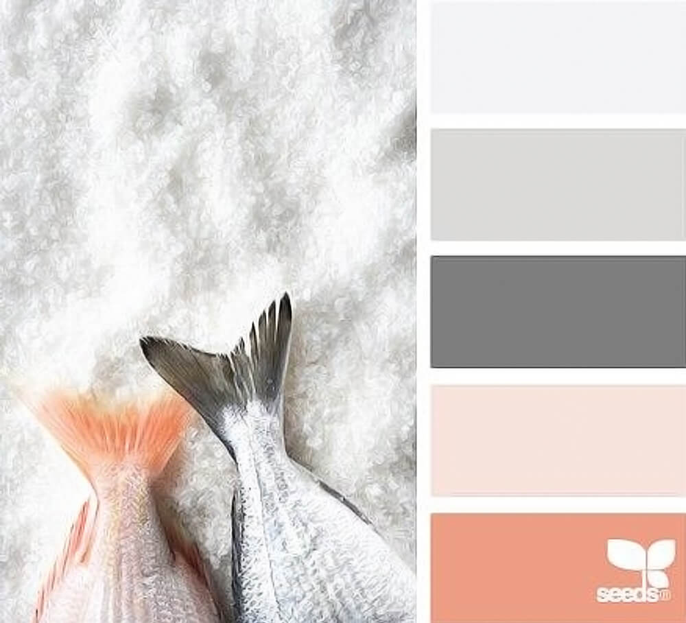 Grey and coral color palette for Pantone inspired New Years party