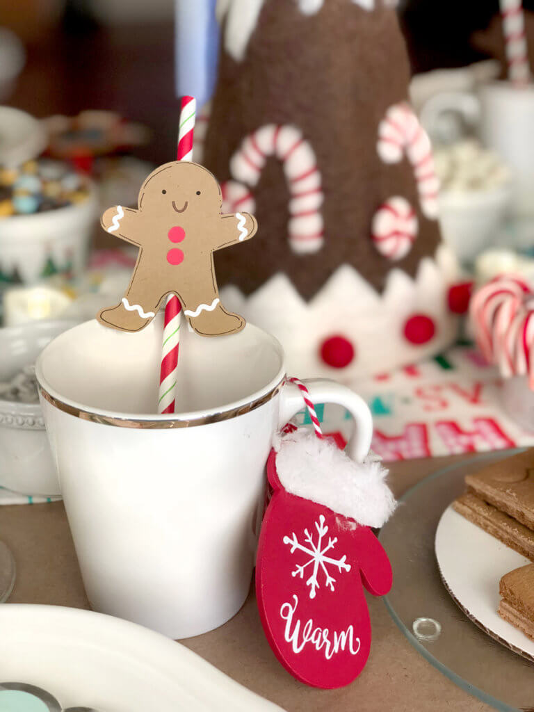 Gingerbread straw topper in mug for a Christmas Cookie Exchange Party