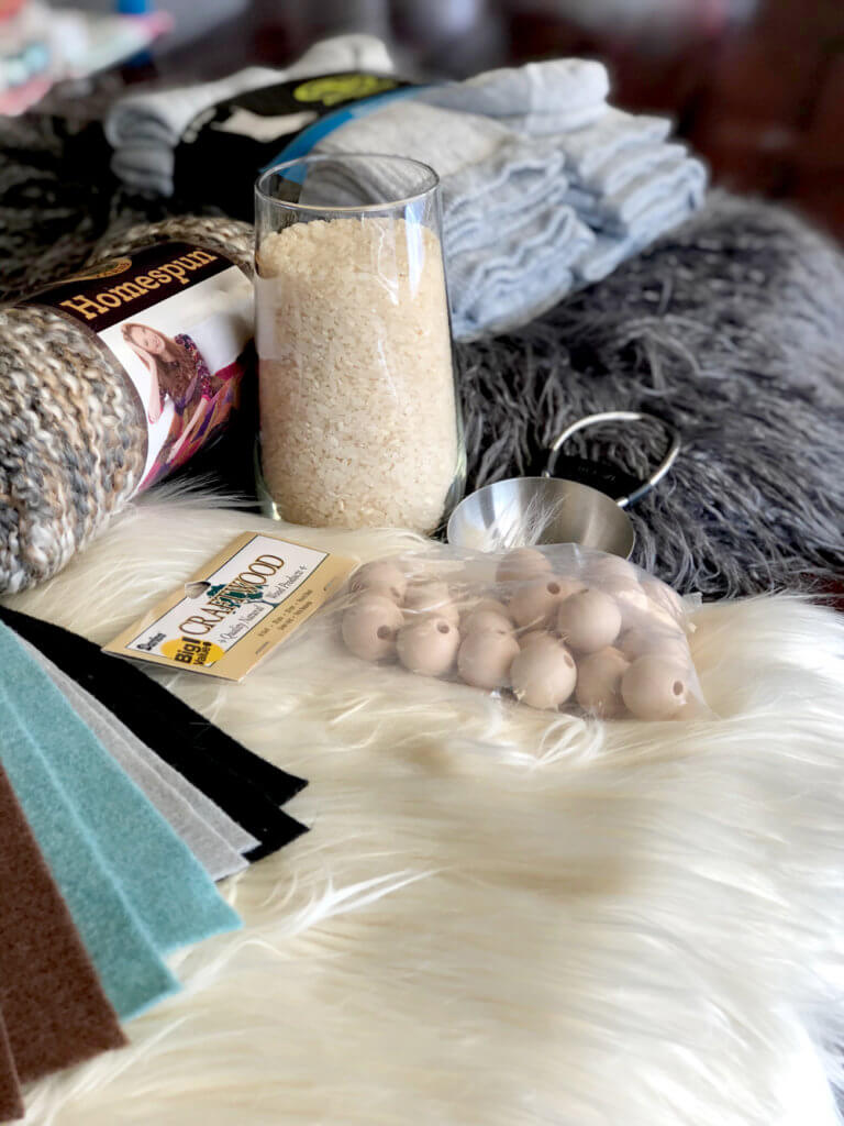 Material supplies for a simple no sew gnome tutorial Scandinavian Christmas tomte