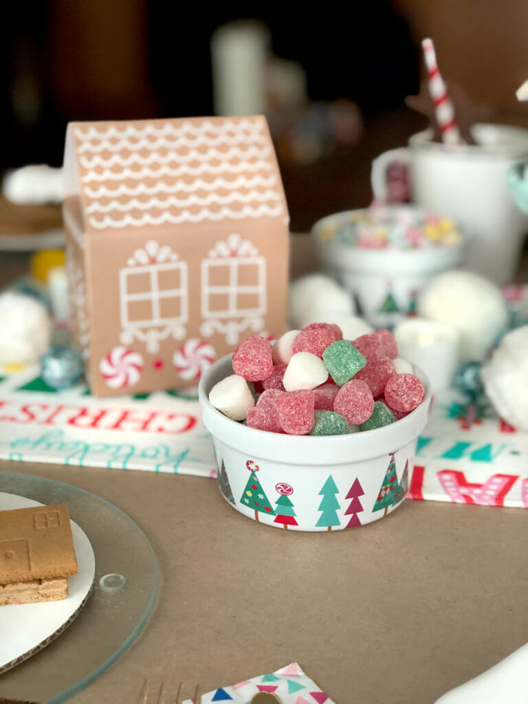 Bowl of gumdrops for gingerbread houses from a Christmas Cookie Exchange Party