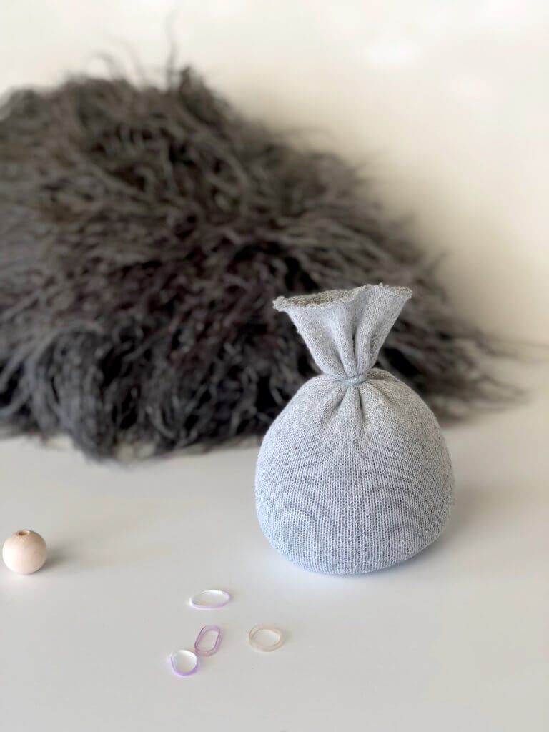 Sock body for a simple no sew gnome tutorial Scandinavian Christmas tomte